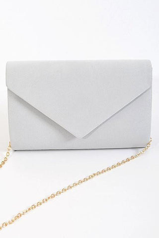 gray suede envelope purse with gold chain