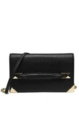 black bag with gold chain and strap detail