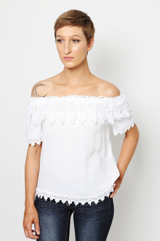 off the shoulder tiered white lace top