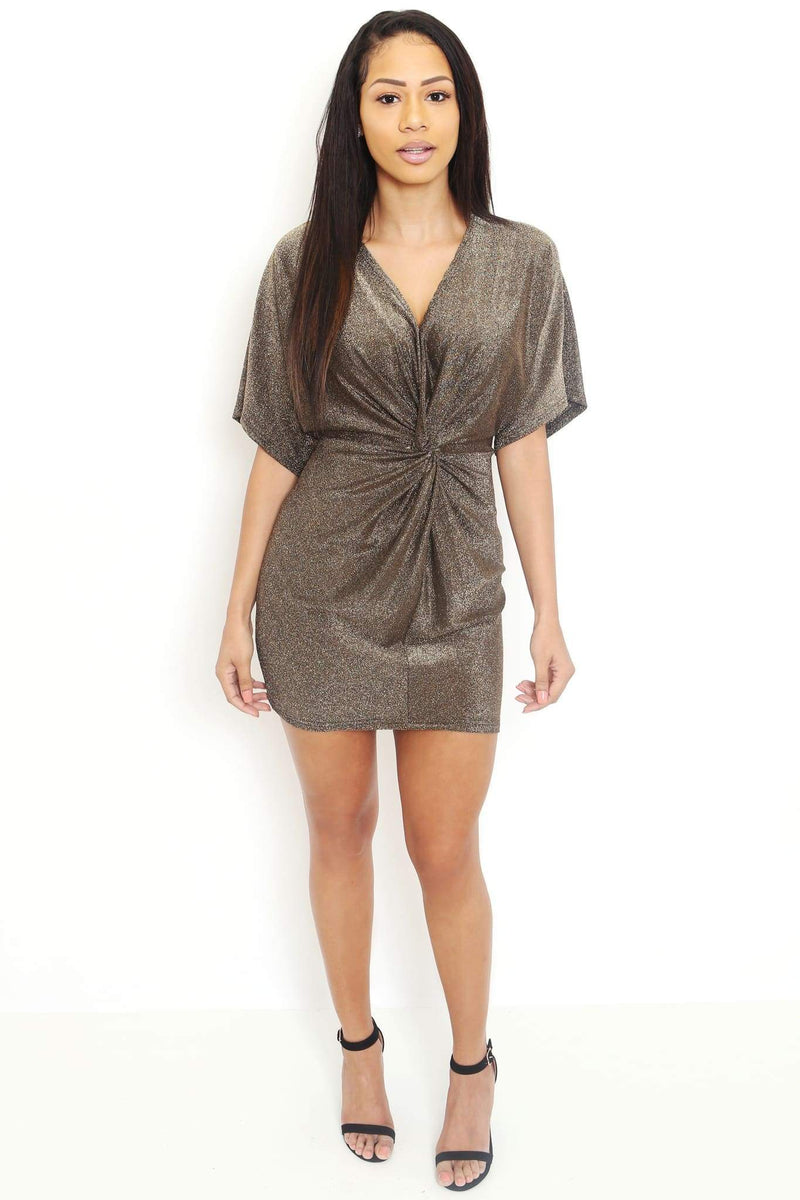Batwing Sleeve Metallic Knit Dress-Article & Thread Boutique