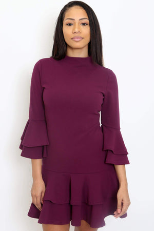 Bell Sleeve Flounce Dress-Article & Thread Boutique