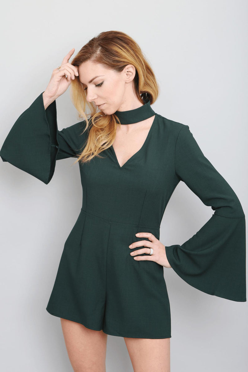 Bell Sleeve Mock Neck Romper-Article & Thread Boutique