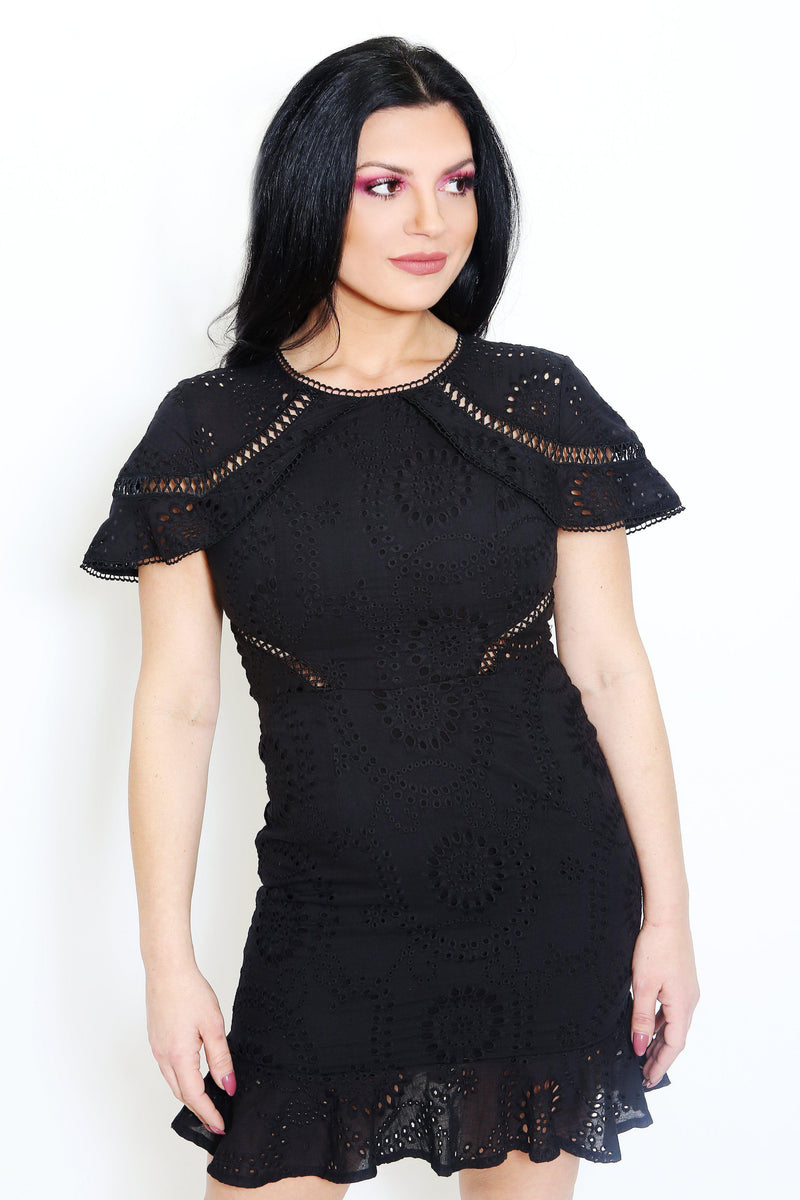 Black Crochet Lace Dress-Article & Thread Boutique