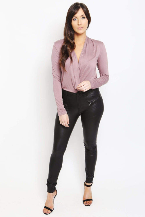 Black Leather Skinny Pants-Article & Thread Boutique