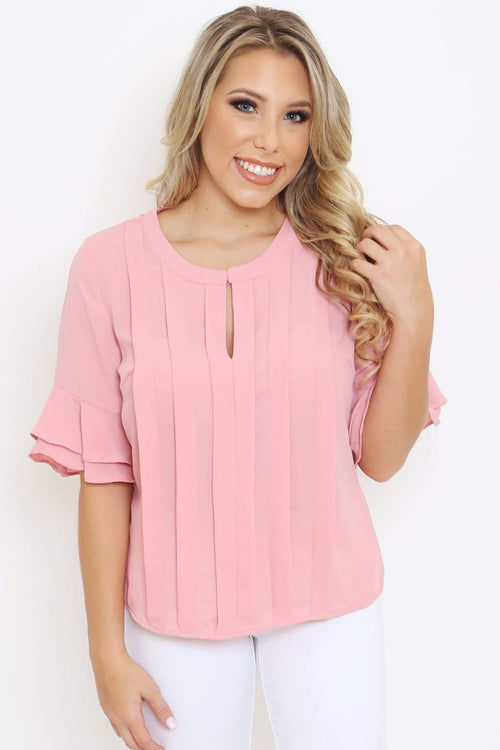 Blush Pleated Blouse-Article & Thread Boutique