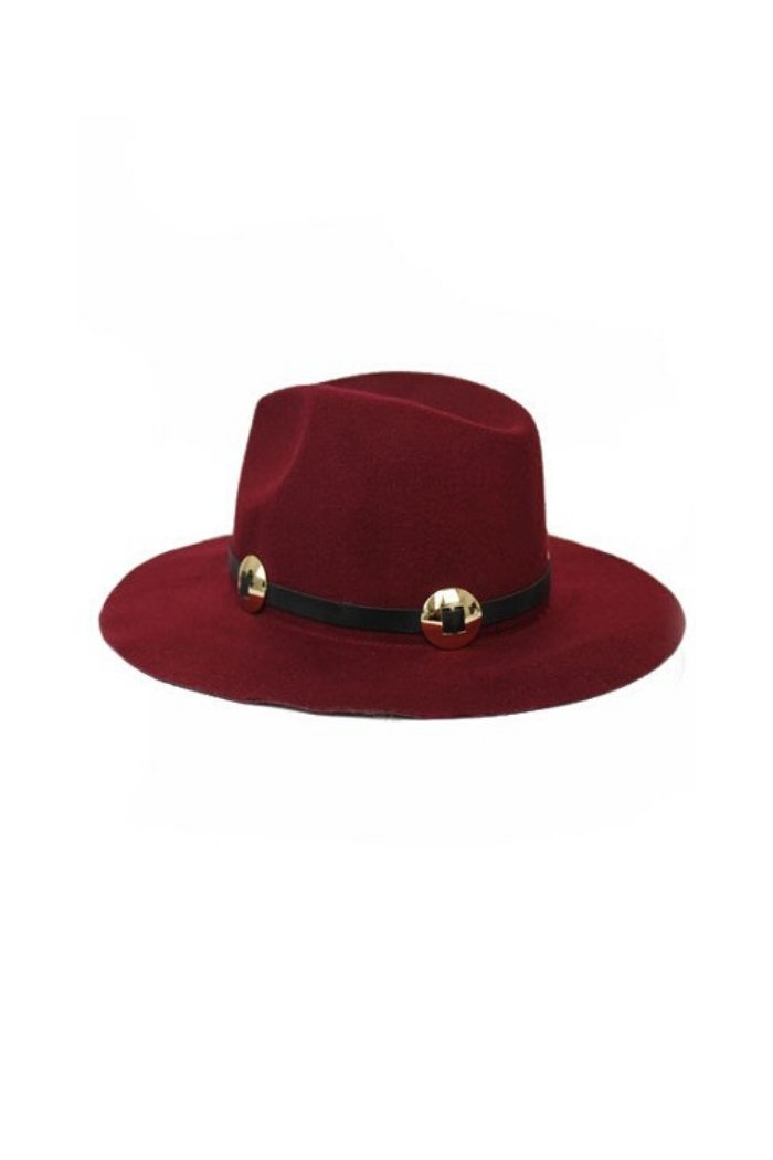 Burgundy Felt Fedora Hat-Article & Thread Boutique