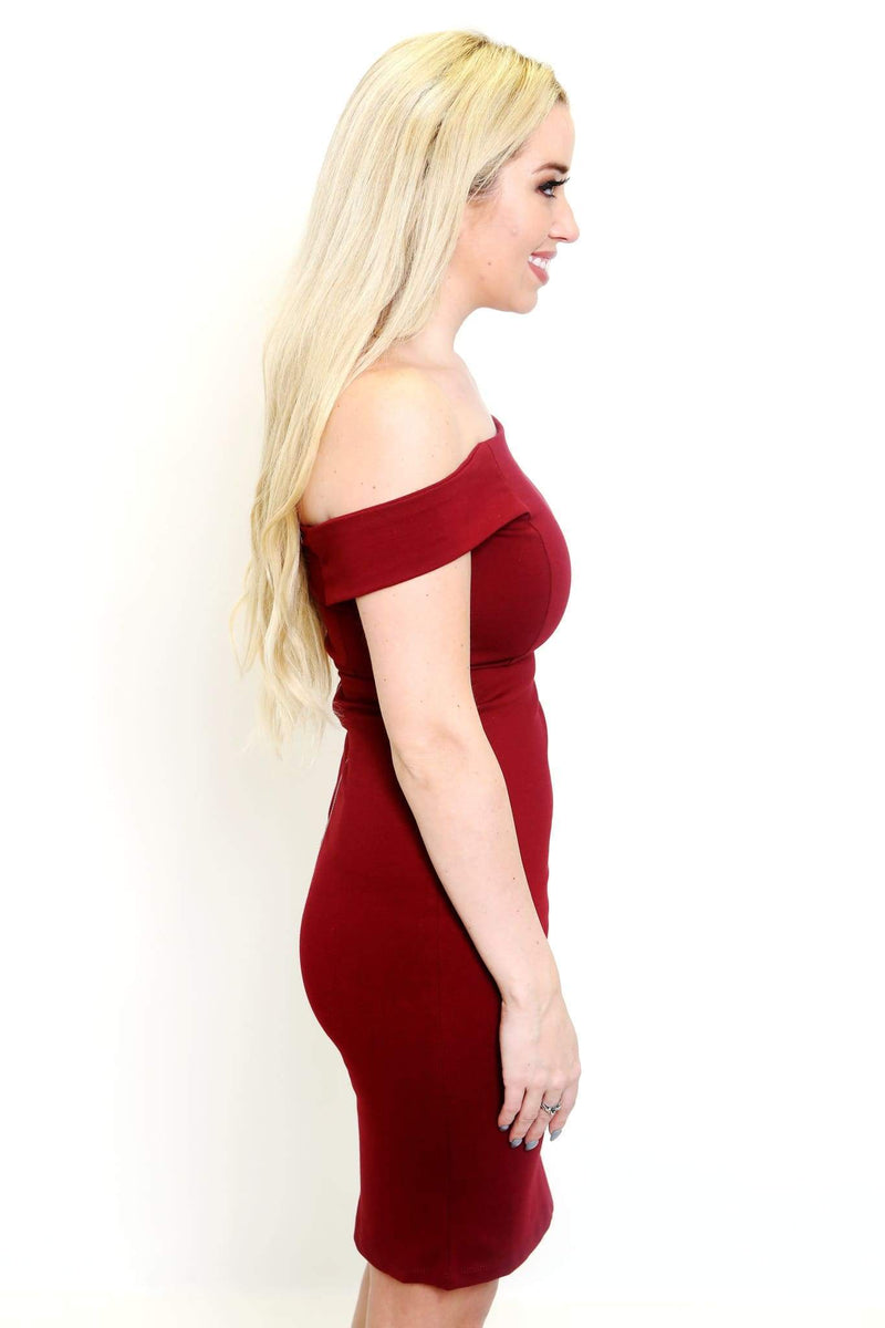 Burgundy Off-The-Shoulder Dress-Article & Thread Boutique