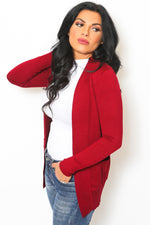 Burgundy Ribbed Open Cardigan Sweater-Article & Thread Boutique