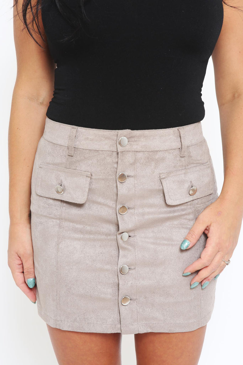 Button Down Suede Mini Skirt-Article & Thread Boutique