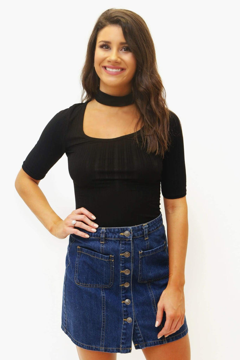 Button Up Denim Skirt-Article & Thread Boutique