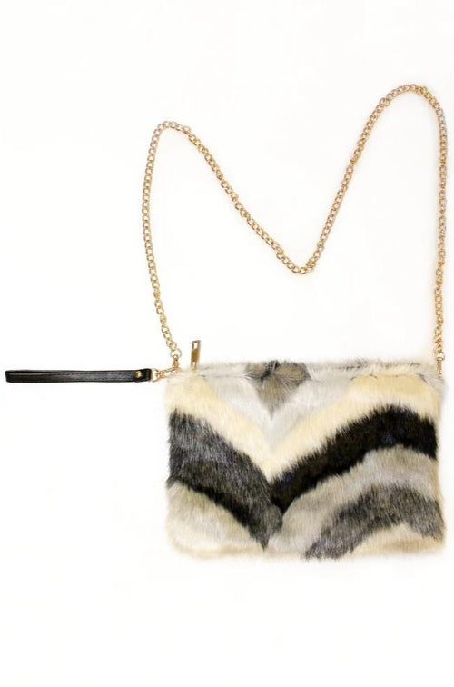 Chevron Multi Color Fur Clutch Bag-Article & Thread Boutique