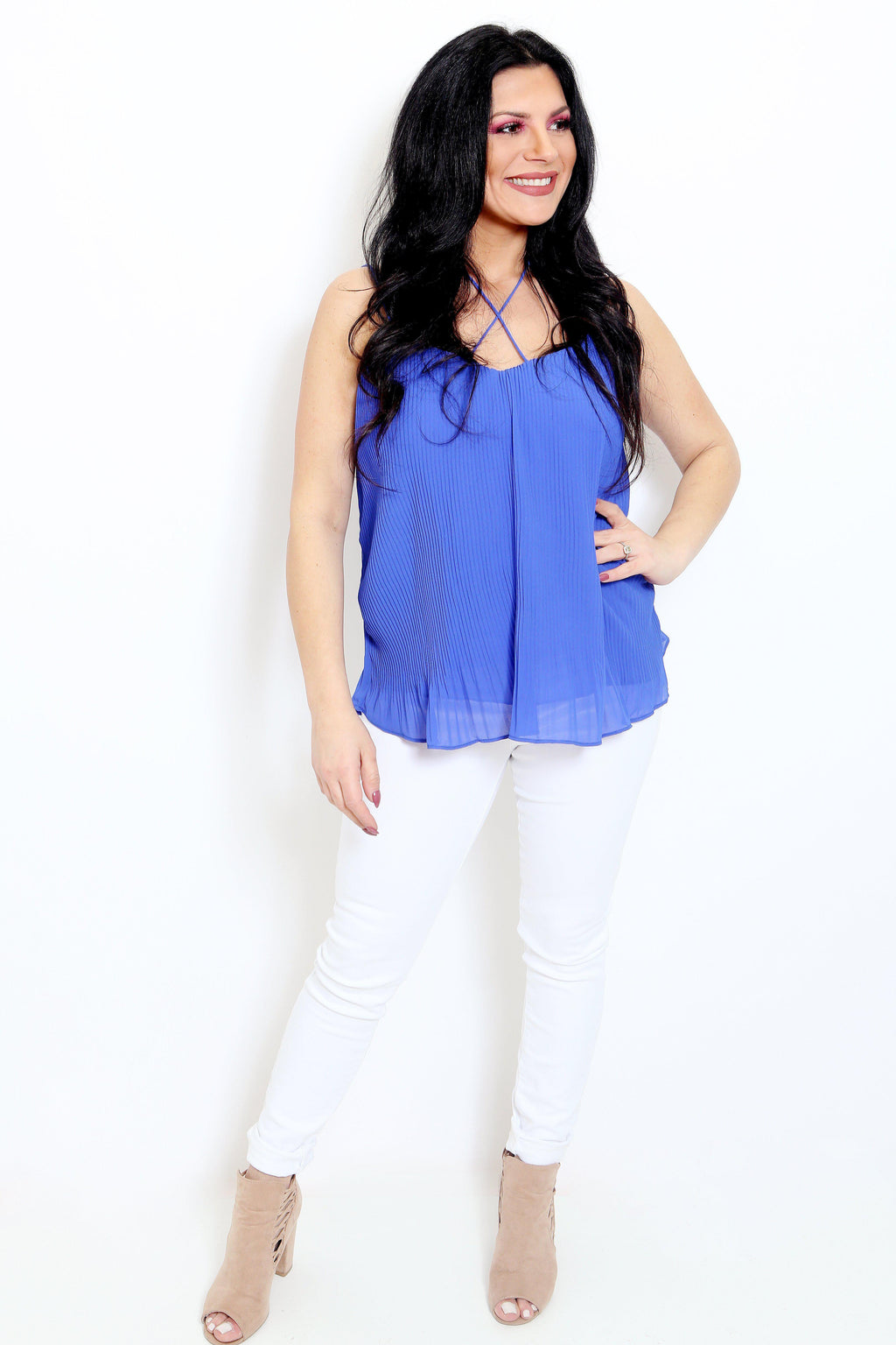 Cobalt Accordion Camisole Top-Article & Thread Boutique