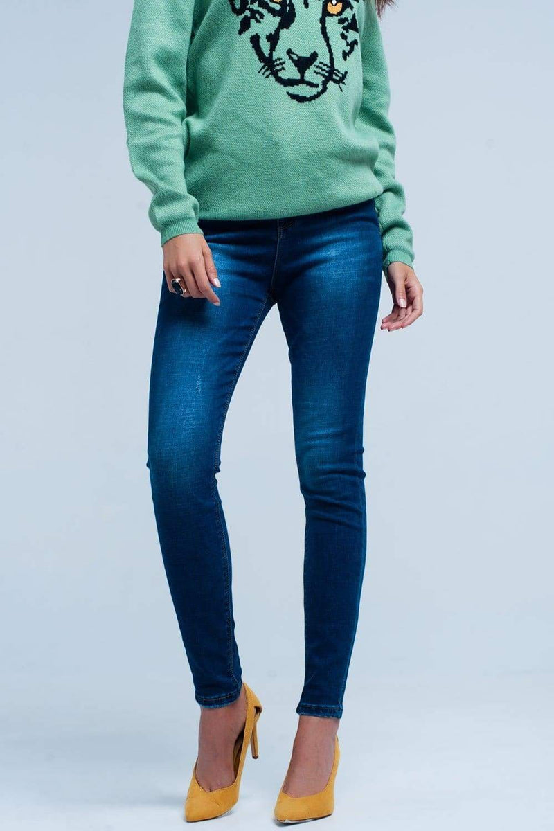 Dark Blue Skinny High Waist Jeans-Article & Thread Boutique