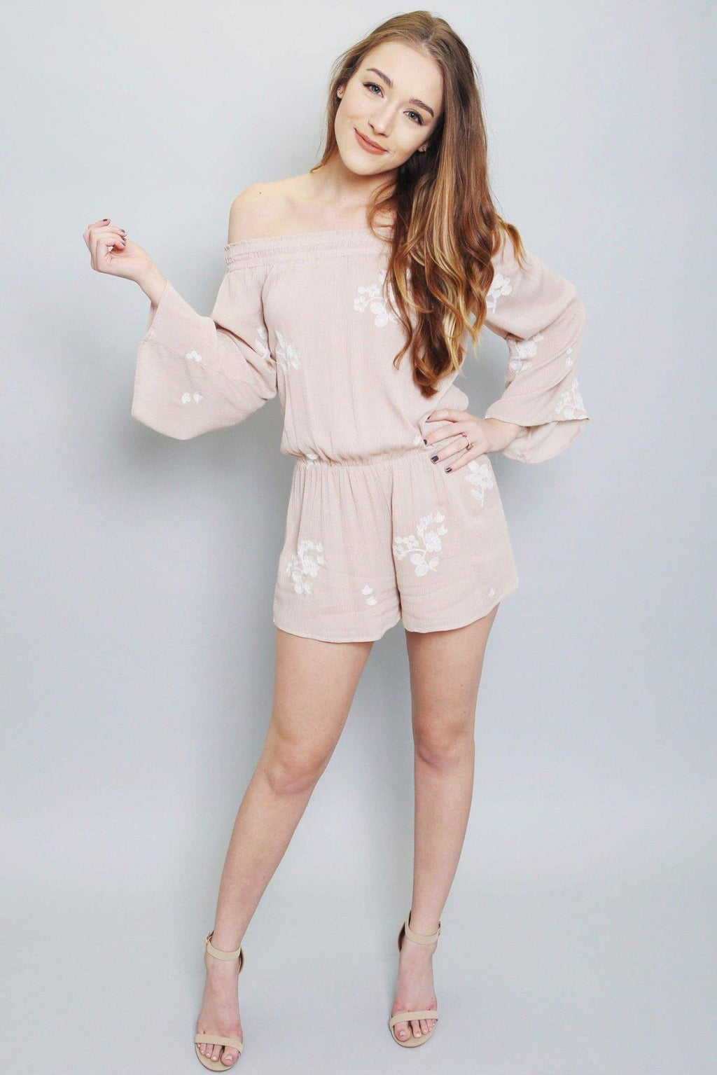 Embroidered Off The Shoulder Romper-Article & Thread Boutique