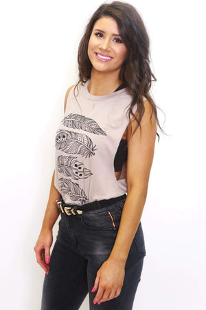 Feather Graphic Sleeveless Tank Tee-Article & Thread Boutique