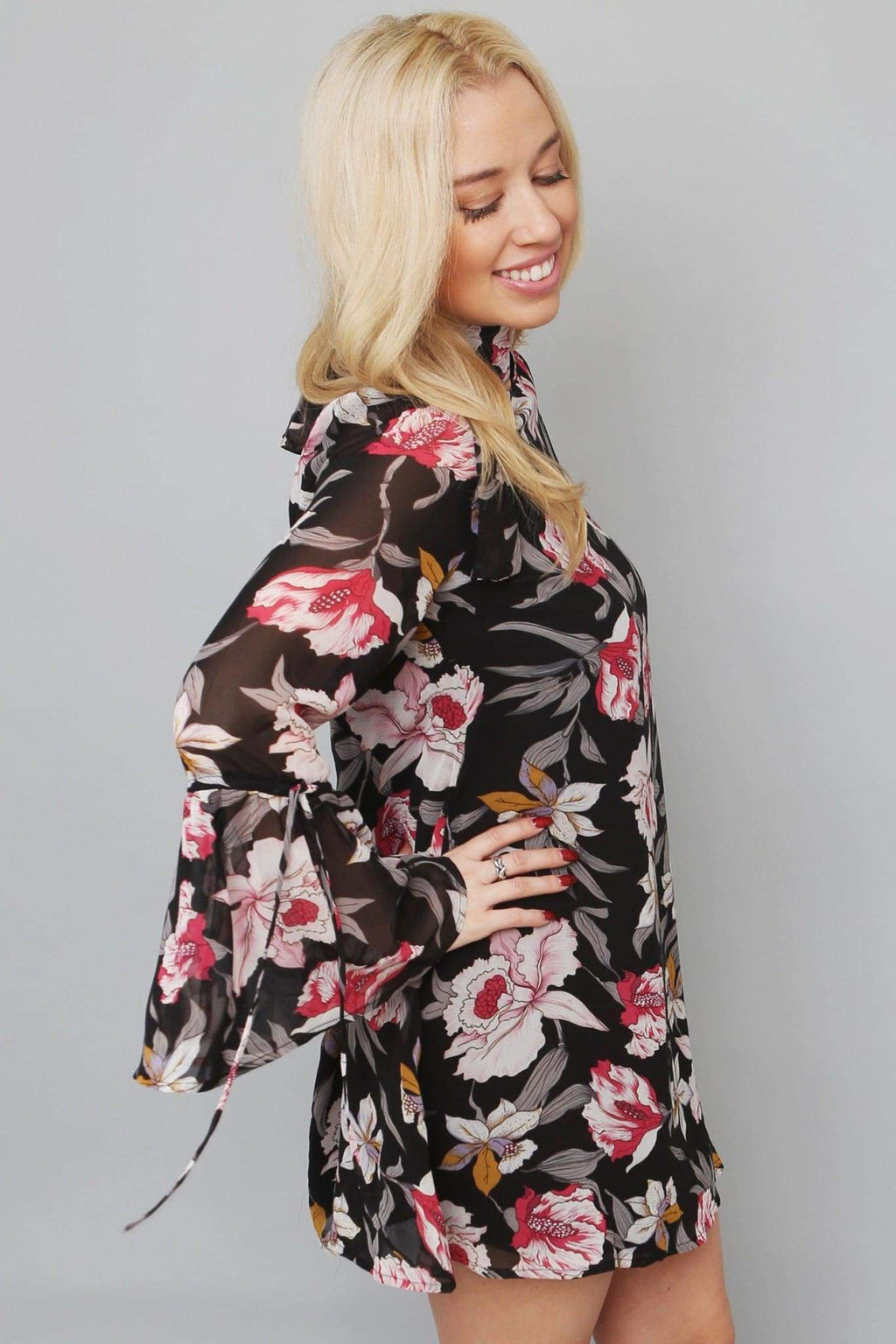 Floral Print Relaxed Mini Dress-Article & Thread Boutique