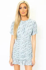 Flounce Feather Print Dress-Article & Thread Boutique