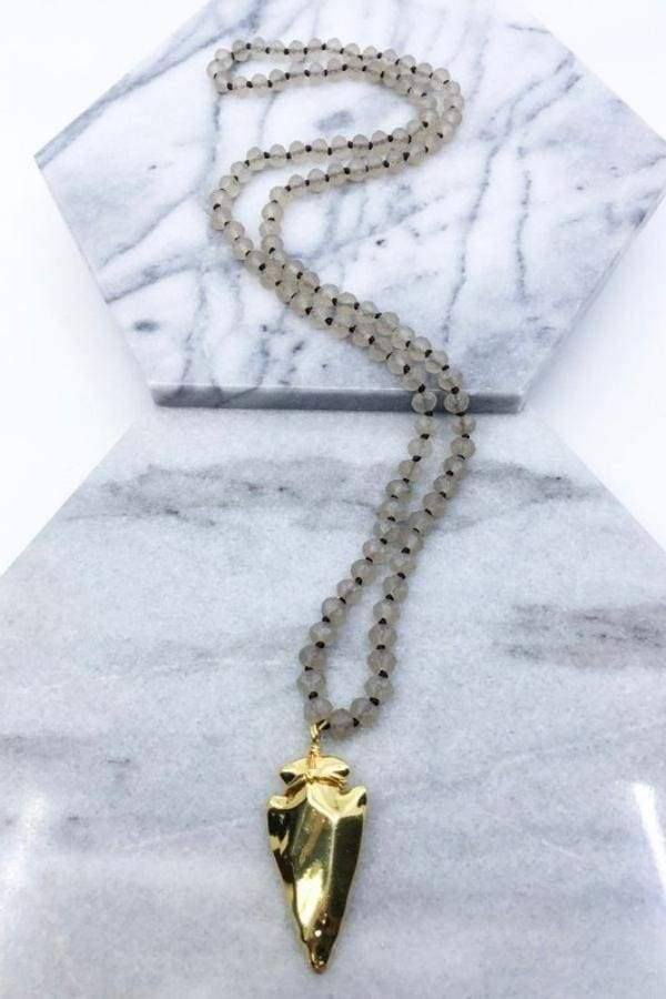 Glass Beaded Arrow Head Necklace-Article & Thread Boutique