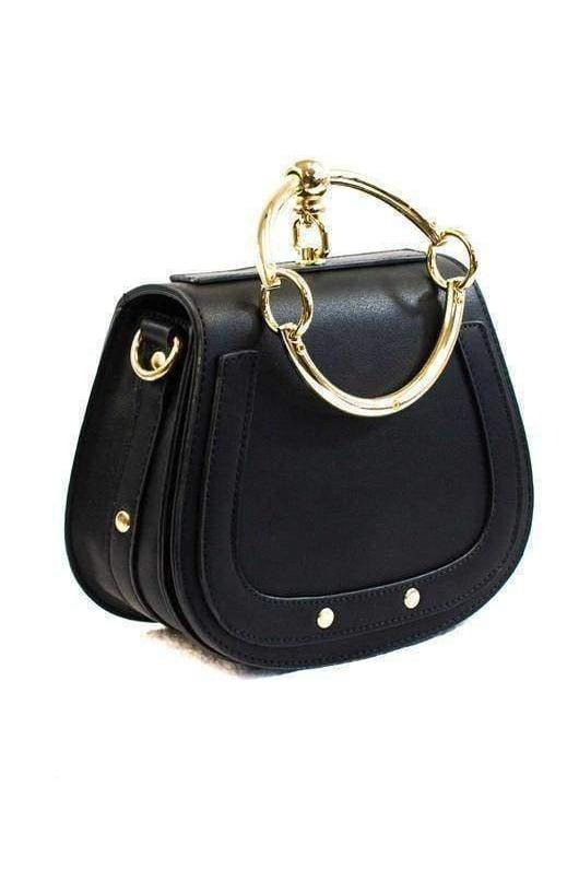 Gold Ring Handle Black Messenger Bag-Article & Thread Boutique