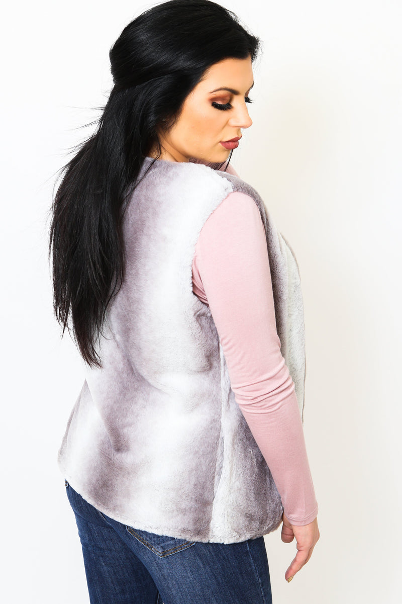 Gradient Grey Fur Vest-Article & Thread Boutique