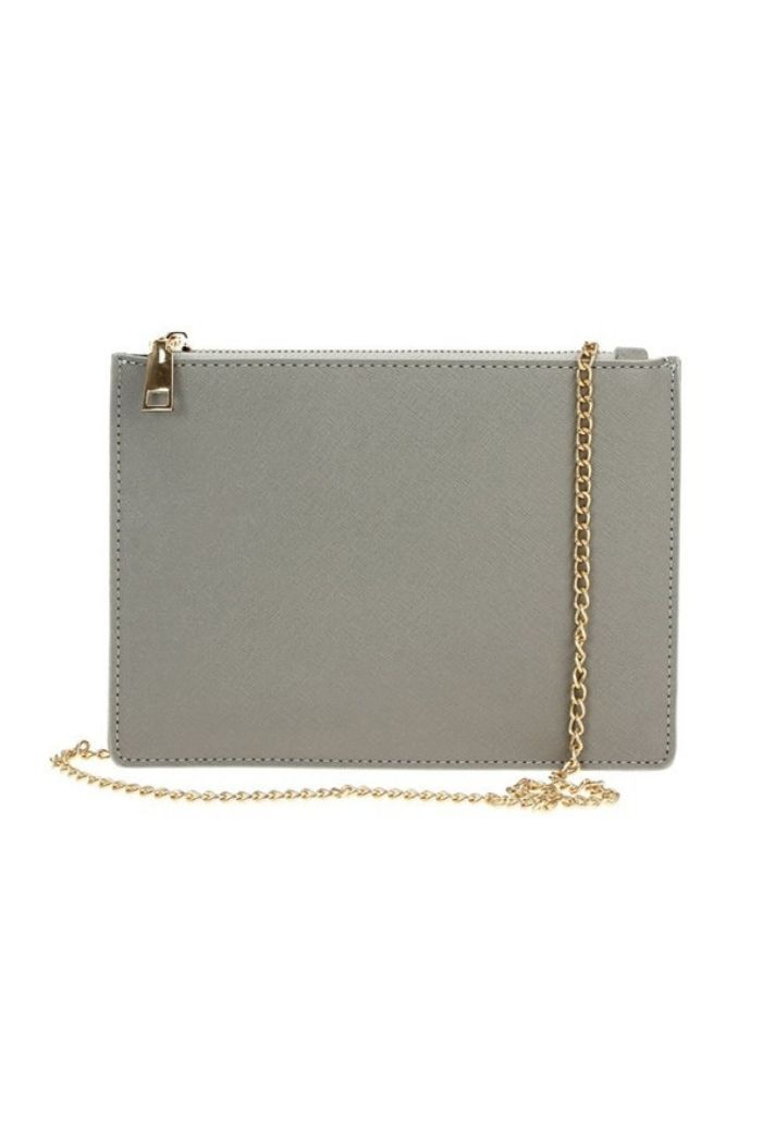 Grey Saffiano Zip Top Clutch With Strap-Article & Thread Boutique