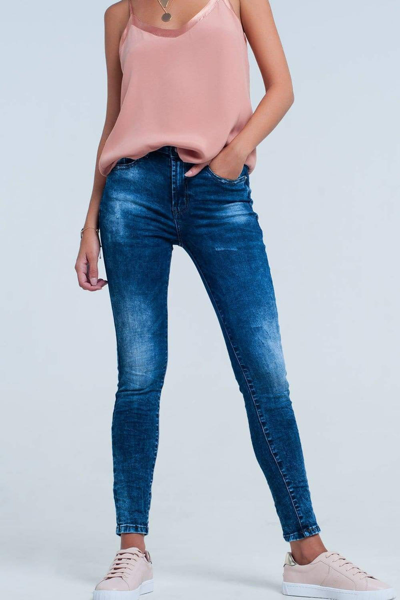 High Waist Blue Denim Skinny Jeans-Article & Thread Boutique