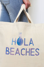 Hola Beaches Canvas Tote Bag-Article & Thread Boutique