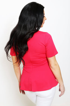Hot Pink Peplum Top-Article & Thread Boutique