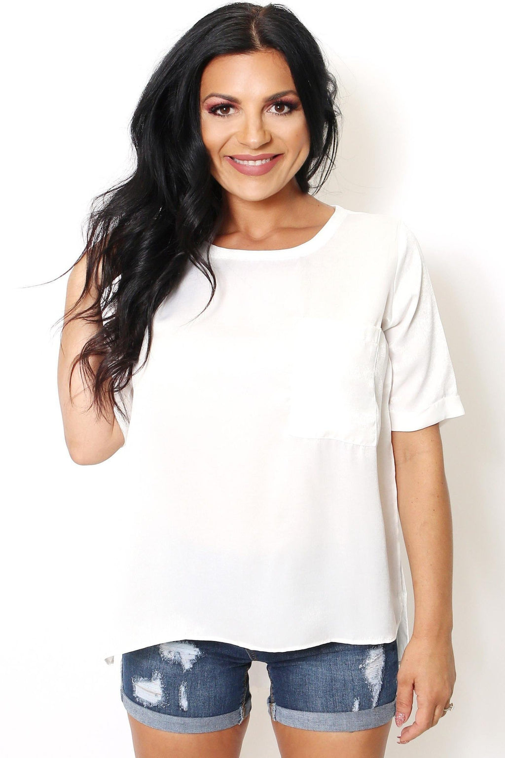 Ivory Scoop Neck Pocket Tunic-Article & Thread Boutique