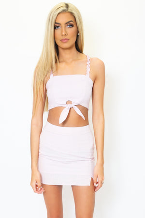 Knotted Crop Top and Skirt Set-Article & Thread Boutique