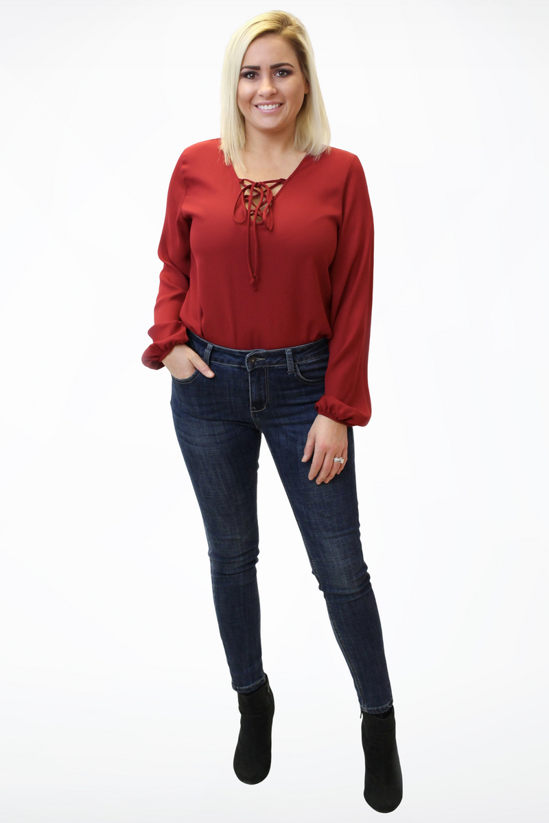 Lace Up Long Sleeve Bodysuit-Article & Thread Boutique