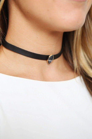 Leather Semi Stone Choker-Article & Thread Boutique