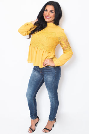 Long Sleeve Crochet Mustard Blouse-Article & Thread Boutique