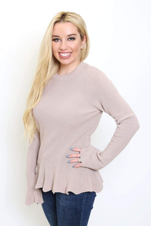 Long Sleeve Peplum Sweater Top-Article & Thread Boutique