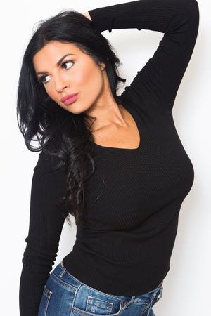 Long Sleeve V-Neck Fitted Sweater-Article & Thread Boutique