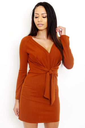 Long Sleeve Waist Tie Knit Dress-Article & Thread Boutique