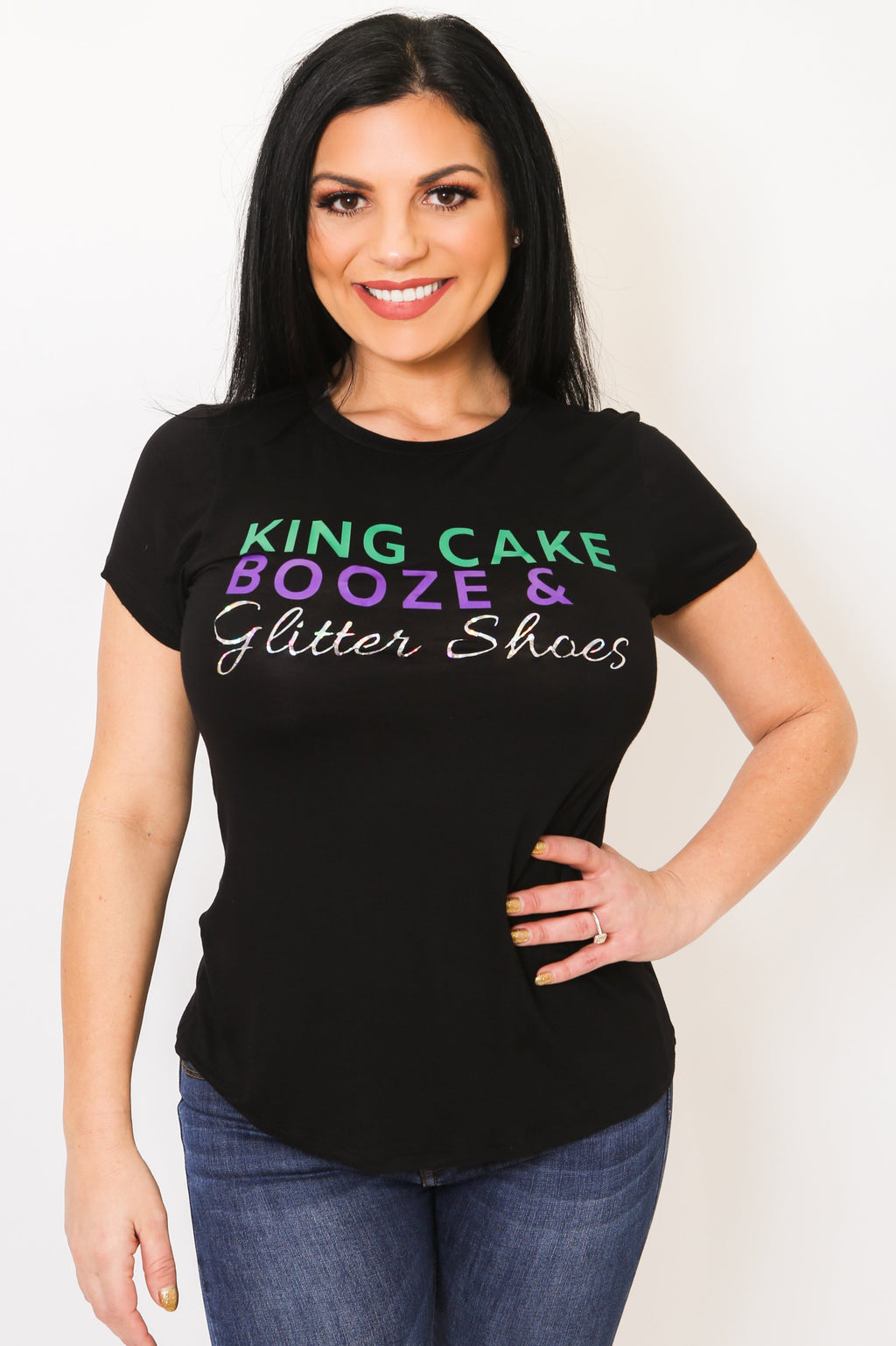 Mardi Gras Glitter Tee-Article & Thread Boutique