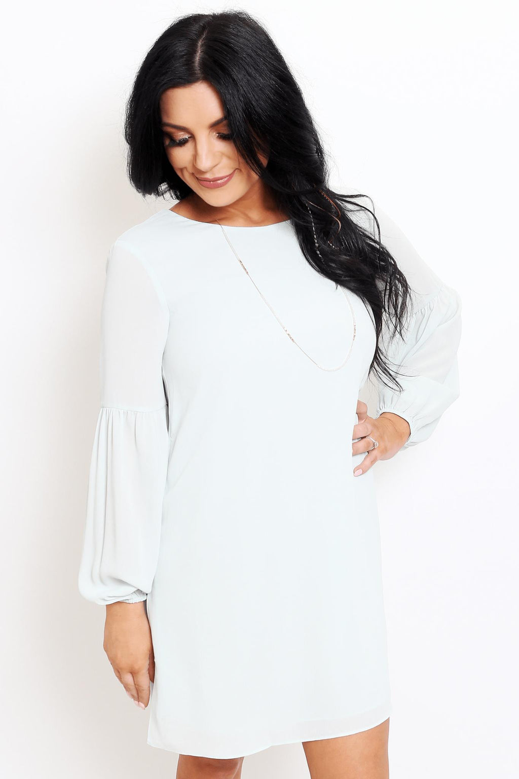 Mint 3/4 Sleeve Mini Dress-Article & Thread Boutique