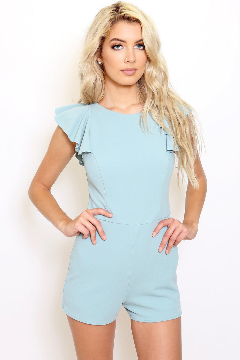 Mint Flounce Sleeve Romper-Article & Thread Boutique