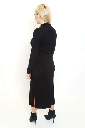Mock Neck Side Slit Dress-Article & Thread Boutique