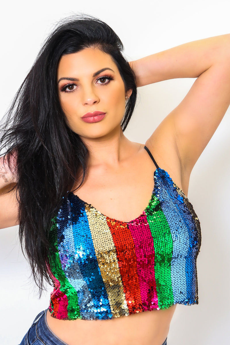 Multi Color Sequin Crop Top-Article & Thread Boutique