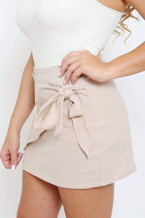 Nude Textured Wrap Skirt-Article & Thread Boutique