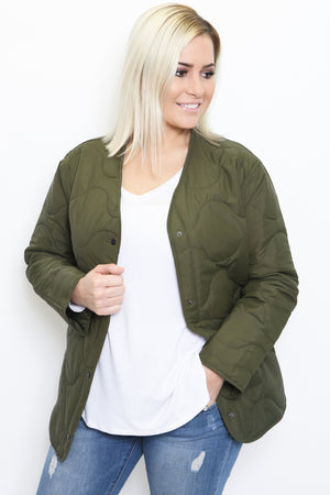 Olive Button Down Puffer Jacket-Article & Thread Boutique