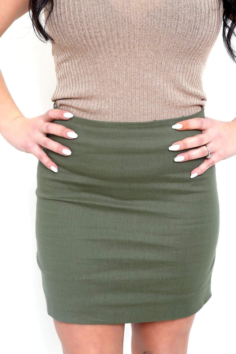 Olive Stretch Mini Skirt-Article & Thread Boutique
