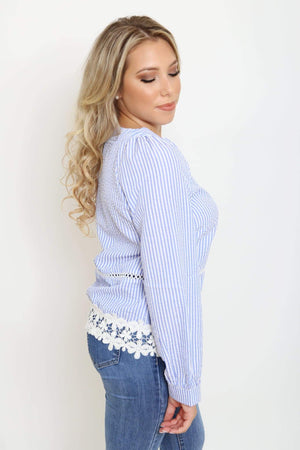 Pinstripe Lace Hem Blouse-Article & Thread Boutique