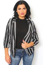 Pinstripe Notched Collar Blazer-Article & Thread Boutique