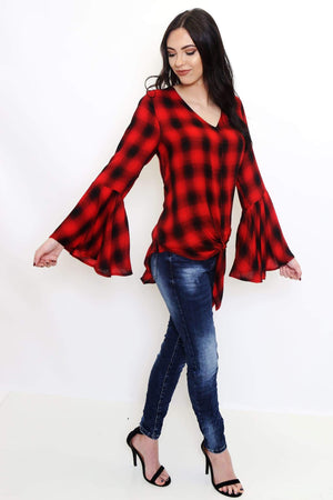 Plaid V-Neck Bell Sleeve Top-Article & Thread Boutique