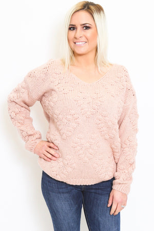 Popcorn Knit Blush Sweater-Article & Thread Boutique