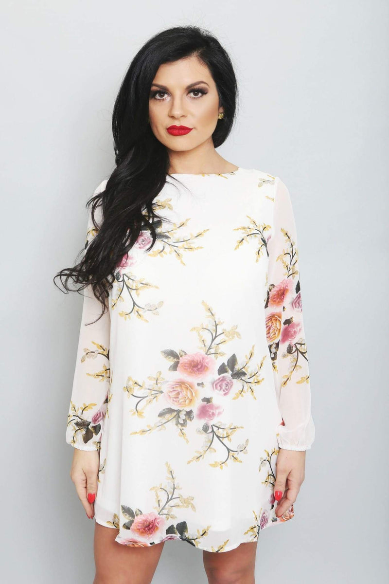 Printed Chiffon Mini Dress-Article & Thread Boutique