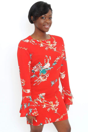 Red Floral Bell Sleeve Dress-Article & Thread Boutique
